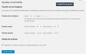 Opciones en Ajustes de Multimedia