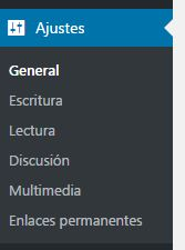 Menú Ajustes WordPress