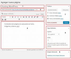 Opciones para crear una pagina nueva en wordpress