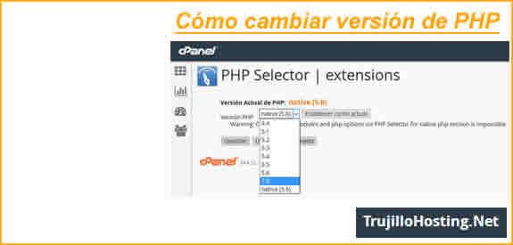 Cómo cambiar la versión de PHP en cPanel